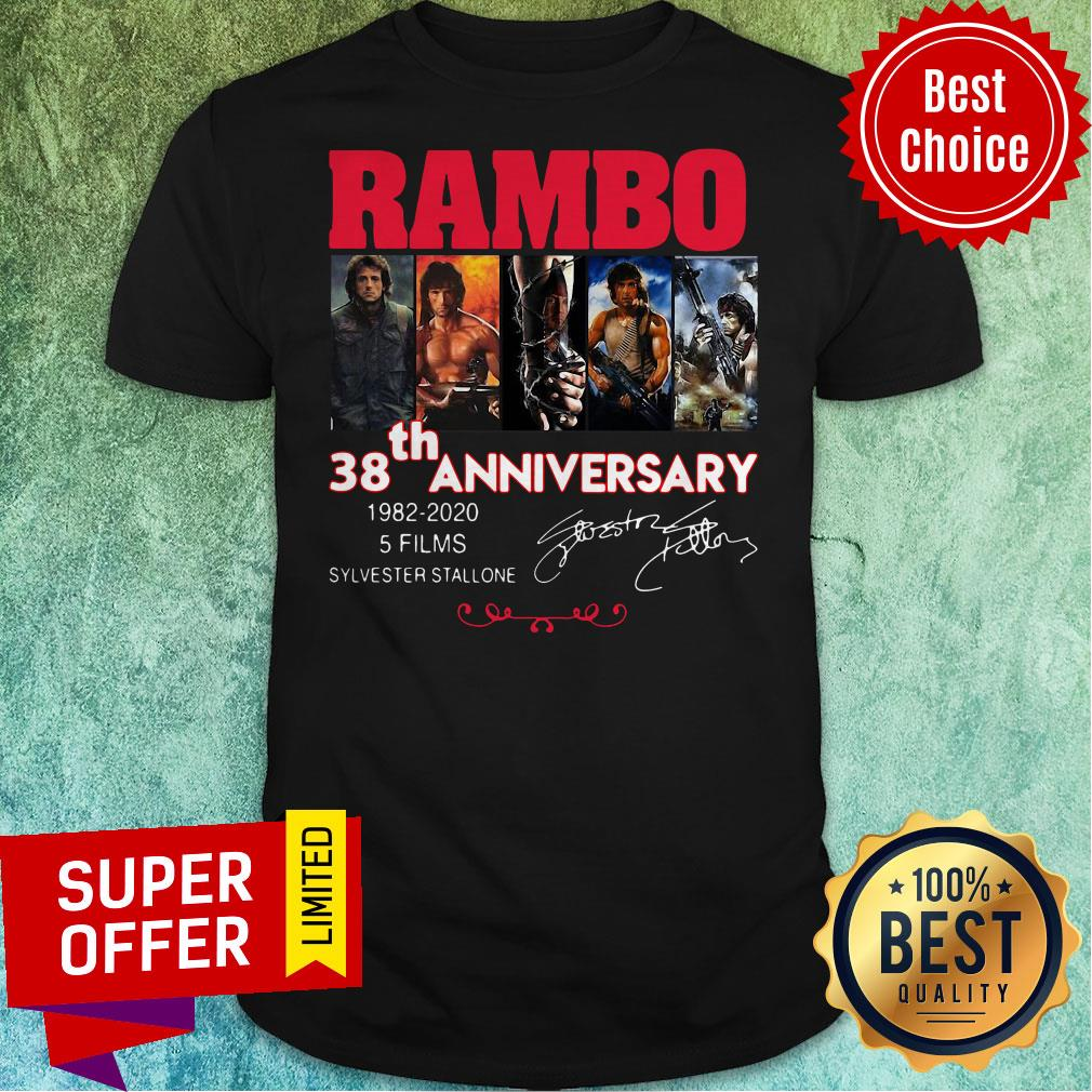 Official Rambo 38th Anniversary 1982 2020 5 Films Sylvester Stallone Signature Shirt