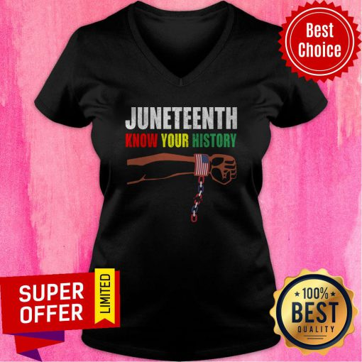 Official Juneteenth Know Your History American Flag Independence Day V-neck