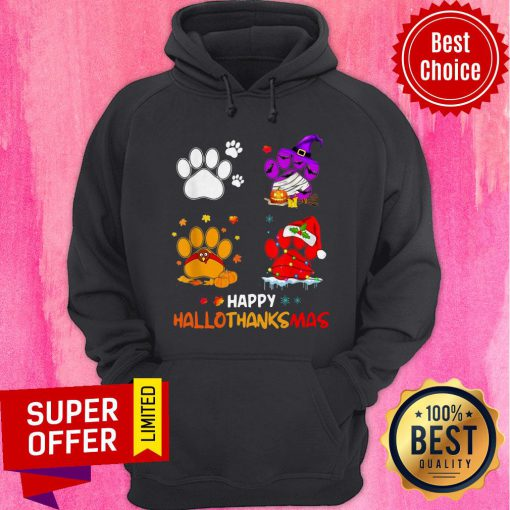 Paw Dogs And Pumpkin Turkey Happy Hallothanksmas Hoodie