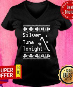 Top Silver Tuna Tonight Ugly Christmas V-neck