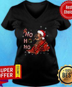Funny Dachshund Ho Ho Ho Christmas V-neck