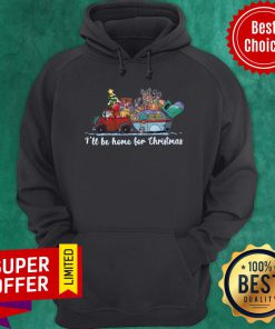 Nice Santa Claus And Reindeer I'll Be Home For Christmas Tree Light Hoodie